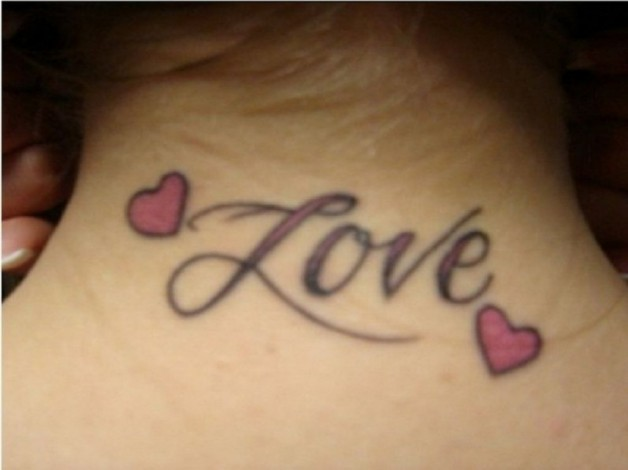 Love One Word Tattoos For Neck