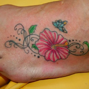 Lovely Hibiscus Tattoo With Butterfly On Ankle Pictures
