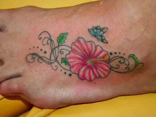 Lovely Hibiscus Tattoo With Butterfly On Ankle