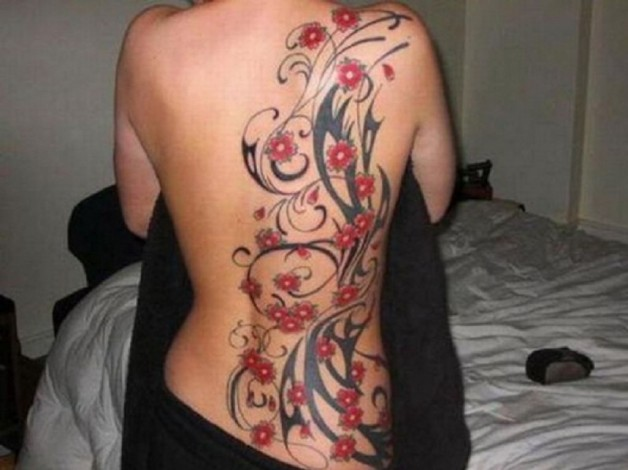 Lovely Side Back Red Black Flower LA Ink Tattoo