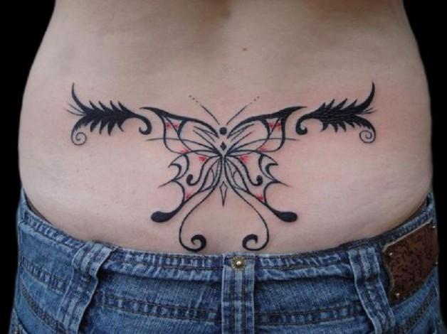 Lovely Tribal Custom Butterfly Tattoo For Women