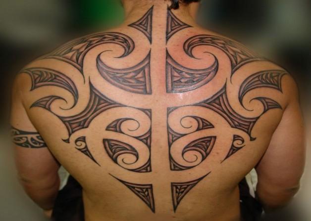 Maori Tribal Tattoo On Back