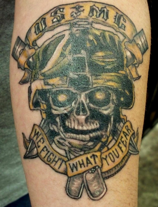 Marine Skull Large Design Tattoos