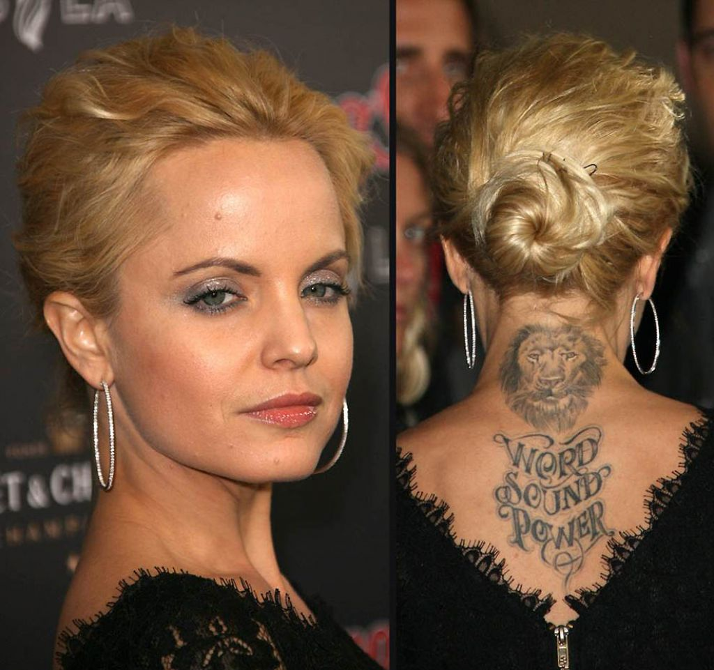 Mena Suvari Lion Tattoo On Back Neck Pictures