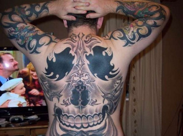 Metal Gothic Full Body Tattoo On Back And Hands