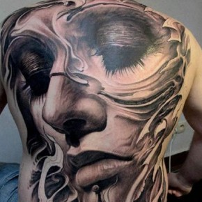 New Eternal Love Full Body Tattoo Showing Girl Face With Half Closed Eyes Pictures