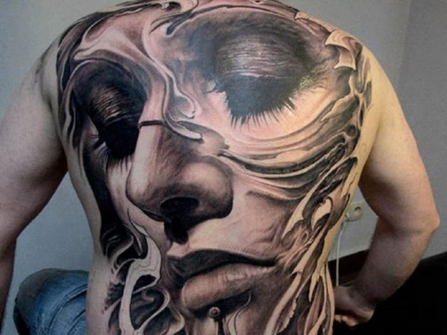 New Eternal Love Full Body Tattoo Showing Girl Face With Half Closed Eyes
