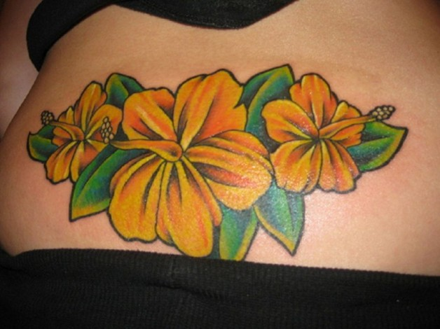 Orange And Yellow Shaded Hibiscus Hip Tattoo
