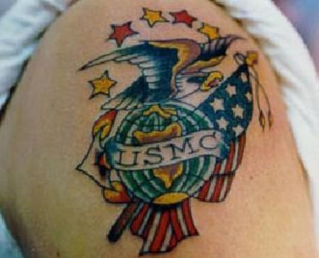 Patriotic Design Marine Corps Tattoo
