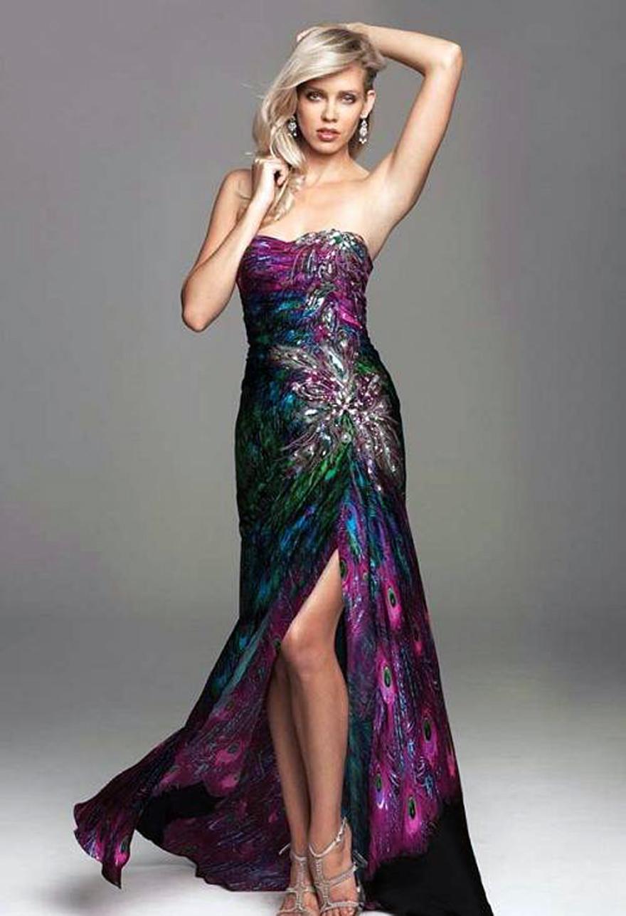 Peacock Print Prom Dresses