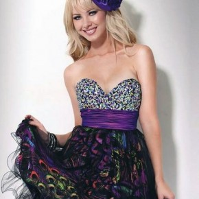 Peacock Print Prom Dress Short Pictures