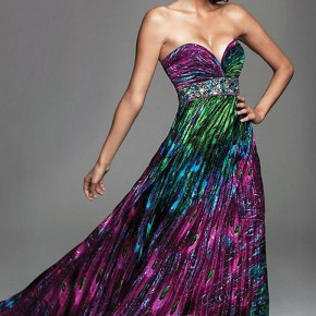 Peacock Print Prom Dresses Pictures