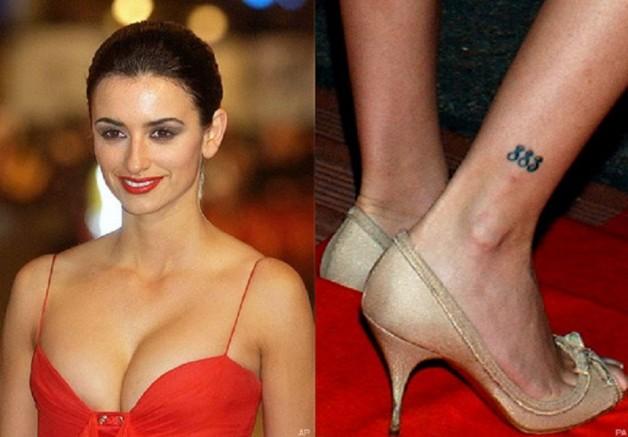 Penelope Cruz 883 Tribal Tattoo On Right Leg