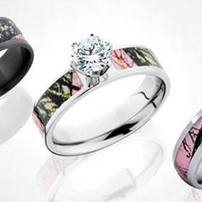 Pink Camo Diamond Ring For Lesbian Couple Pink Camo