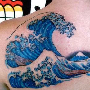 Powerful Water Tattoos Girl Wave Design Pictures