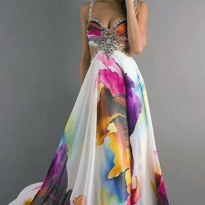 Printed Prom Dress Models Pictures