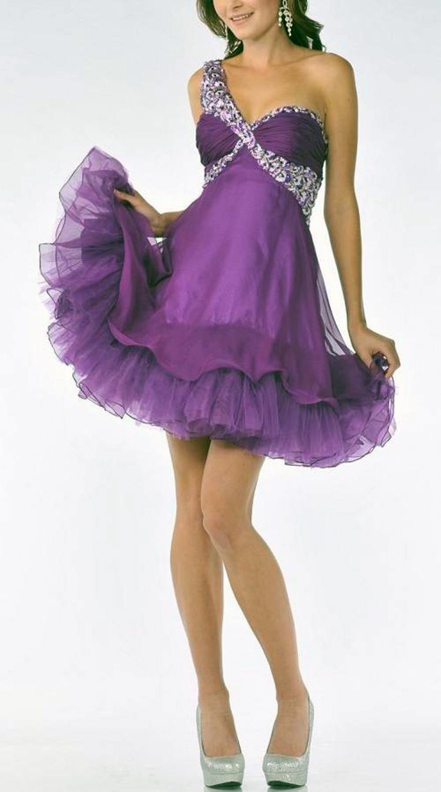 Purple Long Short Dresses Short