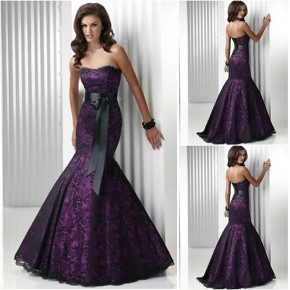 Purple Mermaid Dresses Prom Pictures