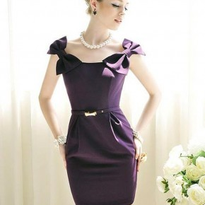 Purple Short Dresses With Straps Pictures
