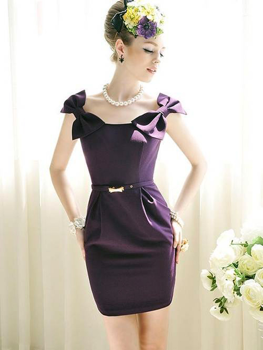 Purple Short Dresses With Straps