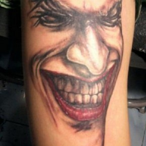 Red Black Joker Tattoo For Hand Pictures