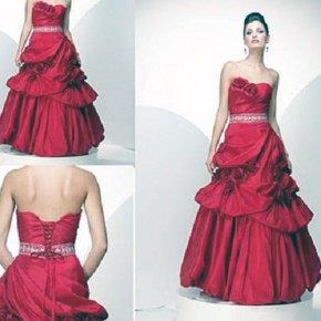 Red Corset Style Dress Long Pictures