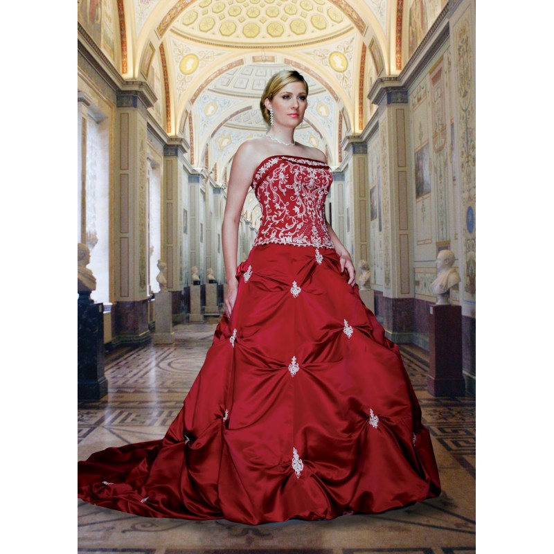 Red Wedding Dresses, Top Seller Red Colored Plus Size Embroidered ...