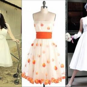 Retro Wedding Dresses Tea Length Pictures