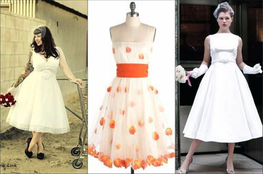 Retro Wedding Dresses Tea Length - Inofashionstyle.com