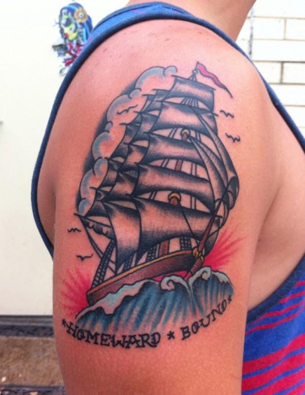 Sailor Jerry Tattoo Shapes Design Homeward Bound