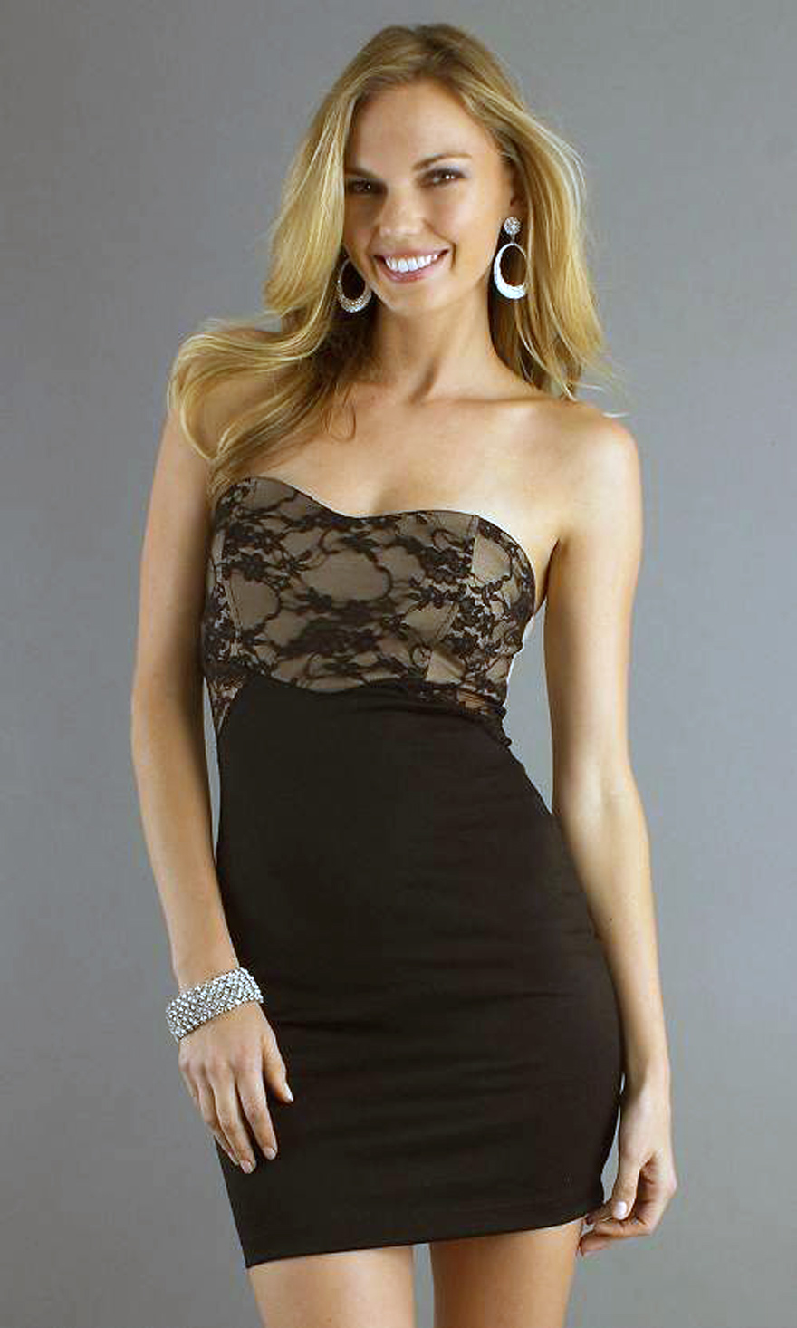 Short Black Dresses Strapless With Lace