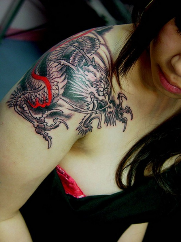 Shoulder Japanese Chest Tattoo Ideas