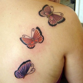 Shoulder Three Butterfly Tattoo For Beautiful Women Pictures