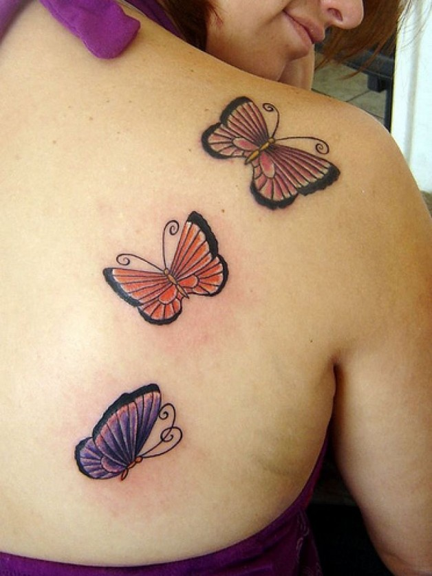 Shoulder Three Butterfly Tattoo For Beautiful Women
