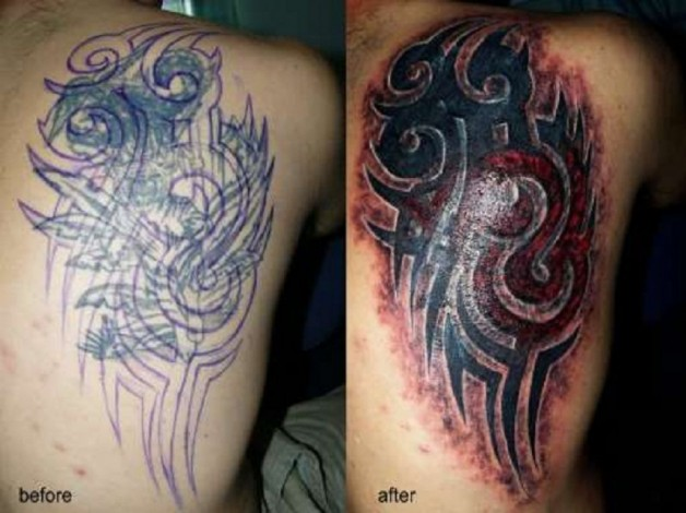 Side Back Tribal Cover Up Tattoo Designs