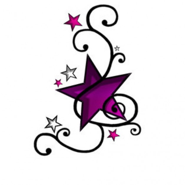 Small Star Tattoo Design Purple