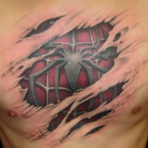 Spiderman Chest Tattoos Ideas For Cool Mens Pictures