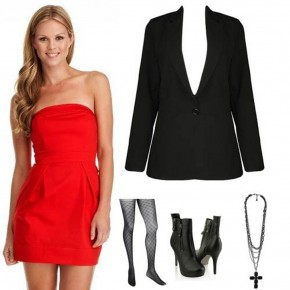 Strapless Red Dress Casual Pictures