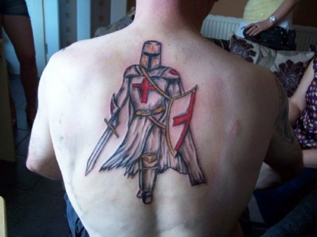 Stunning England Knight Back Tattoo