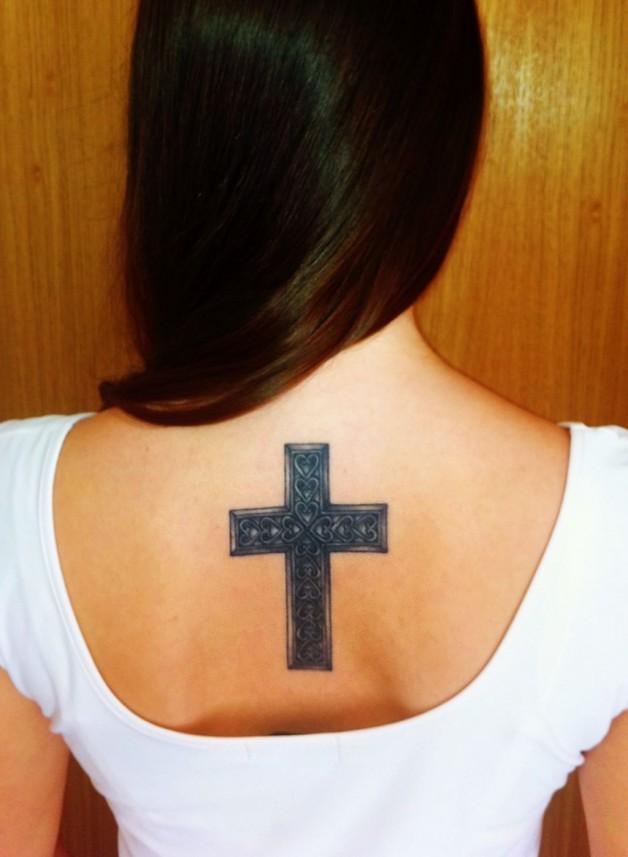 Tattoo Cross Back Heart Women