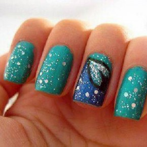 Teal Nails With Design Glitter Pictures