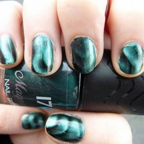 Teal Nails With Design Metallic Pictures