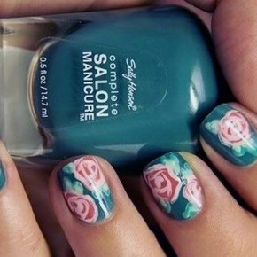 Teal Nails With Design Rose Pictures