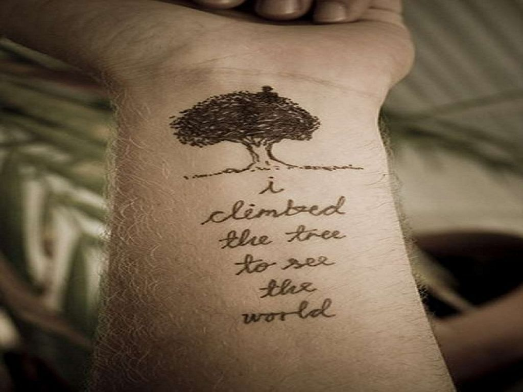 Tree Tattoo With Life Words Like A Metaphor Implying Struggles Of Life Pictures
