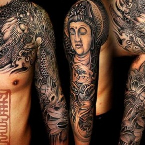 Tribal Buddhist Full Slevee Tattoos Pictures