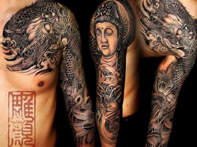 Tribal Buddhist Full Slevee Tattoos
