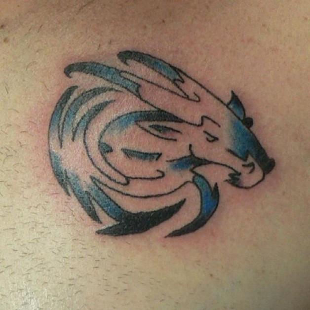 Tribal Capricorn Tattoo Blue Black Color