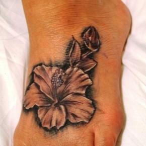 Unique Hawaiian Hibiscus Flower Tattoo Design For Foot Pictures