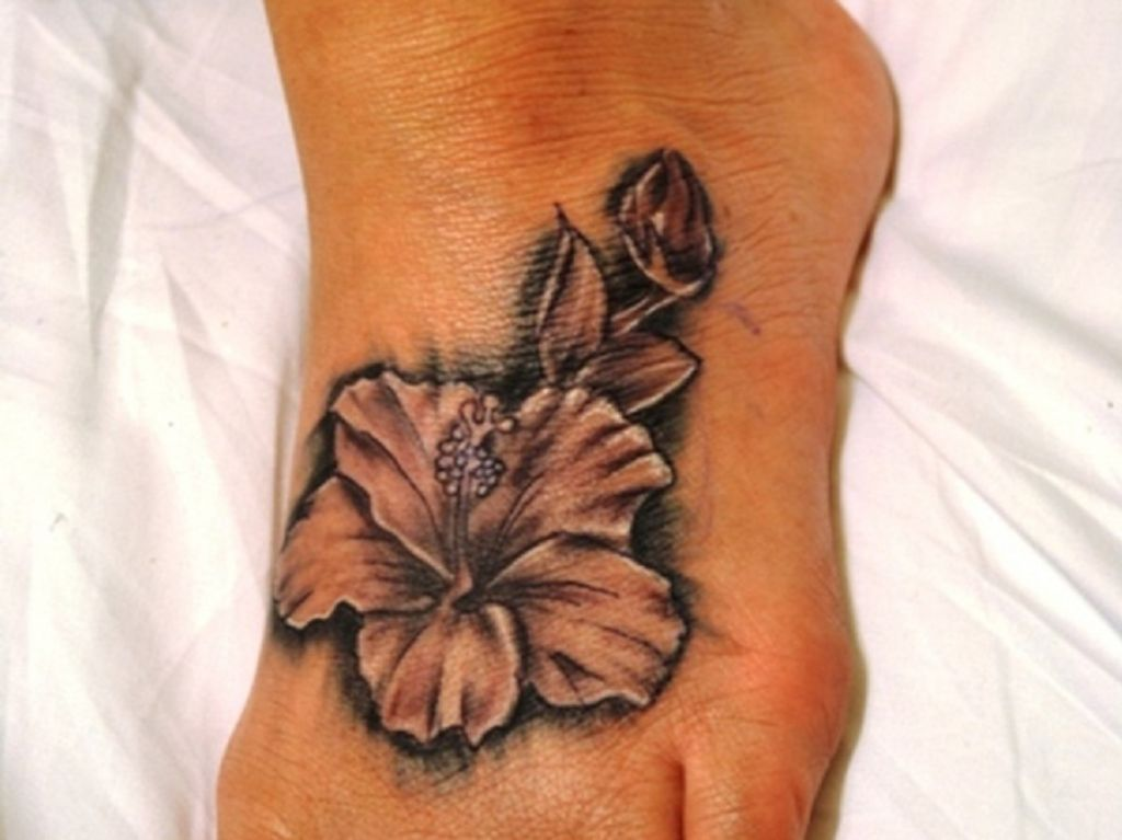 Unique Hawaiian Hibiscus Flower Tattoo Design For Foot Pictures
