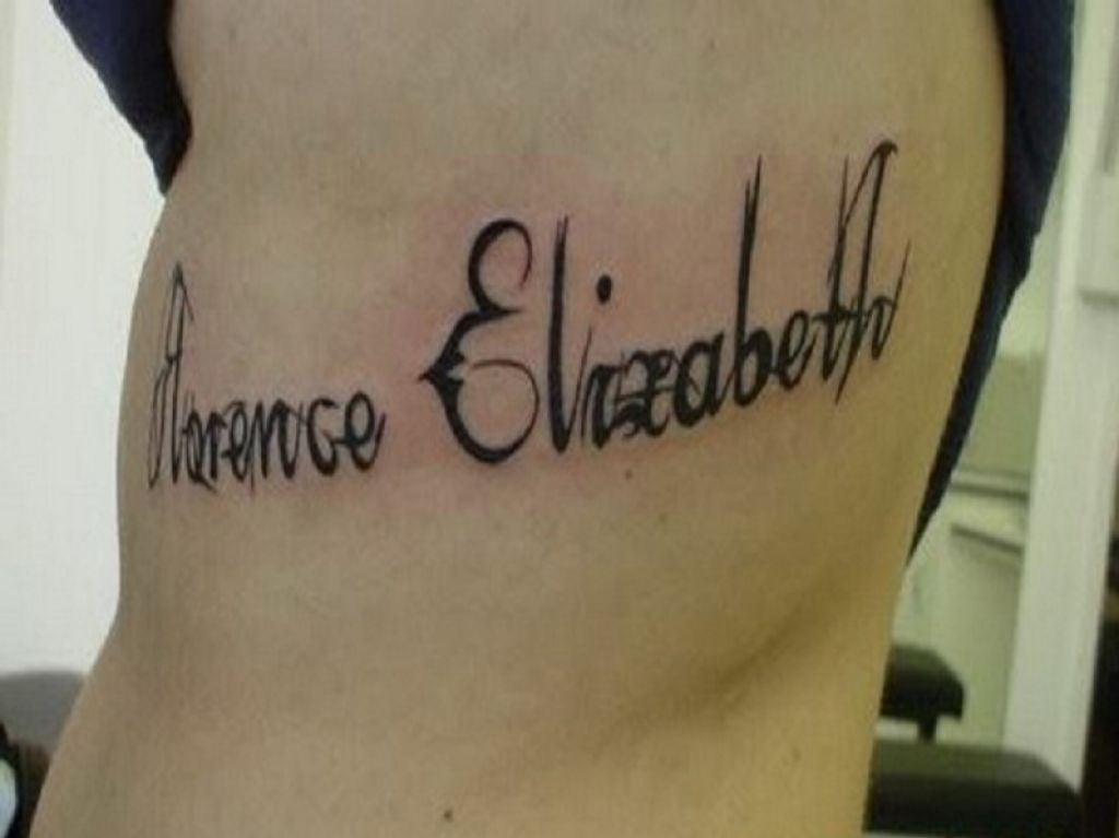 Unique Personalized Name Tattoo Words For Rib Pictures